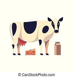 wektor, ilustracja, krowa