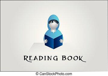 wektor, ilustracja, książka, student, logo, czytanie, 3d