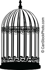 wektor, ilustracja, od, birdcage