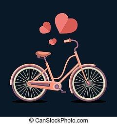 wektor, ilustracja, od, miejski, hipster, rower, w, modny, płaski, styl, z, hearts.