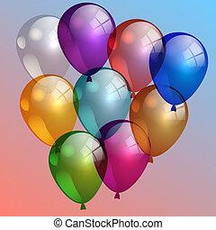 wektor, ilustracja, od, multi-kolorują, powietrze, balony, w, przedimek określony przed rzeczownikami, niebo
