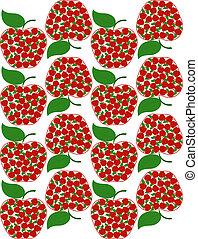 wektor, ilustracja, od, na, jabłko, seamless, tło