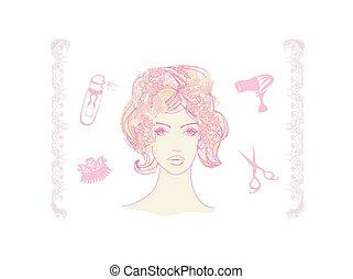 wektor, ilustracja, od, niejaki, ładna dziewczyna, w, niejaki, fryzjer, salon