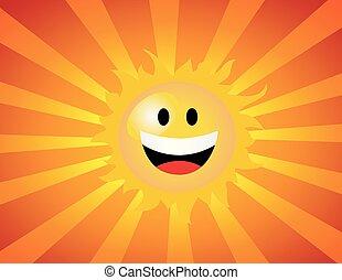 wektor, ilustracja, od, przedimek określony przed rzeczownikami, słońce