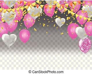 wektor, ilustracja, od, przelotny, serce, balony