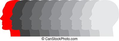 wektor, ilustracja, od, twarze