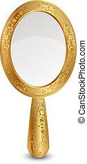 wektor, ilustracja, od, złoty, lustro