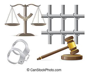 wektor, ilustracja, prawo, ikony