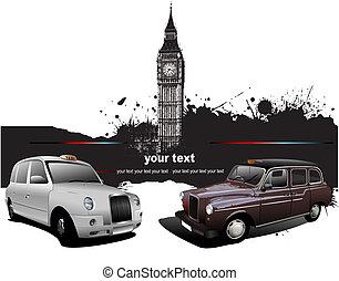 wektor, ilustracja, rzadkość, images., londyn, czerwony