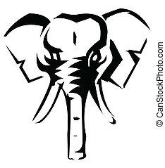 wektor, ilustracja, słoń
