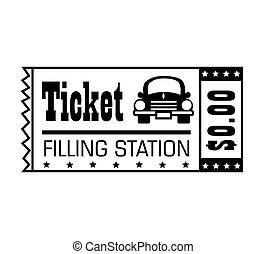 wektor, ilustracja, stacja benzynowa, bilet, ikona