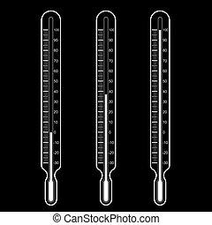wektor, ilustracja, termometry