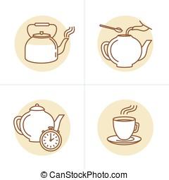 wektor, ilustracja, w, modny, linearny, styl, -, herbata, infuzja, instrukcje, i, przewodnik, -, ikony, i, rysunki, dla, herbata, pakowanie, albo, infographics