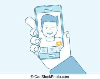wektor, ilustracja, w, modny, linearny, styl, i błękitny, kolor, -, selfie, pojęcie
