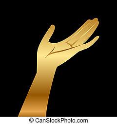 wektor, ilustracja, złoty, ręka
