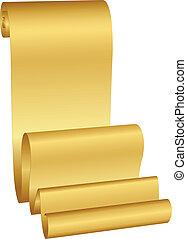 wektor, ilustracja, złoty, woluta
