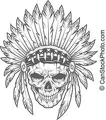 wektor, indianin, feathers., czaszka, art.