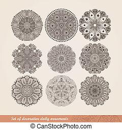 wektor, indianin, ozdoba, kalejdoskopowy, kwiatowy wzór, mandala., komplet, od, dziewięć, ozdoba, lace., dekoracyjny, okrągły, koronka, próbka, koło, tło, z, dużo, szczegóły, spojrzenia, podobny, szydełkowanie, handmade, koronka