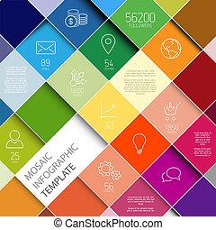 wektor, infographic, raiinbow, mozaika, szablon