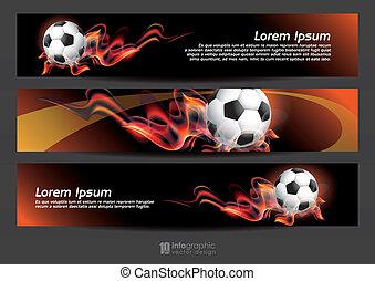 wektor, informacja, graficzny, chorągiew, piłka nożna
