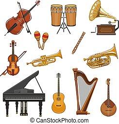 wektor, instrumentować, komplet, muzyczny, ikony