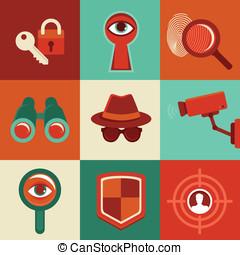 wektor, inwigilacja, pojęcia, -icons, w, płaski, styl