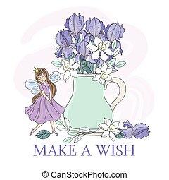wektor, irys, kwiat bukiet, wiosna, ilustracja, komplet, wróżka
