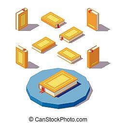 wektor, isometric, książka, niski, poly