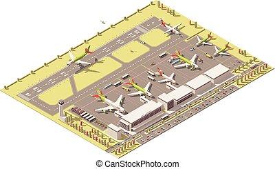 wektor, isometric, niski, poly, aeroport końcowy, gmach, z,...