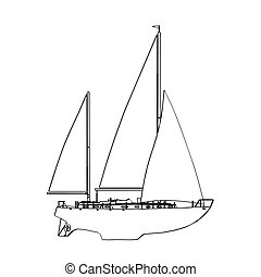 wektor, jacht, illustration.