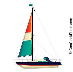 wektor, jacht, nawigacja