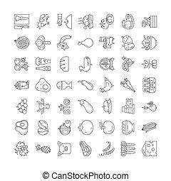 wektor, jadło, komplet, znaki, ikony, bio, kreska, symbolika, ilustracja, linearny