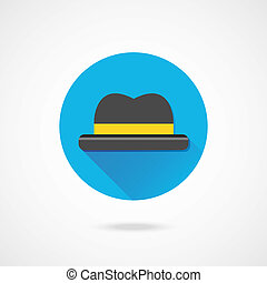 wektor, kapelusz, ikona
