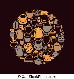 wektor, kawa herbaty, ikony pojęcia