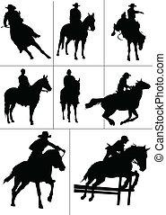 wektor, koń, silhouettes., jeźdźcy