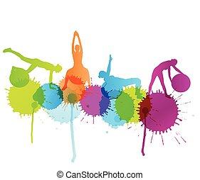 wektor, kobieta, kolor, piłka, pojęcie, plamy, tło,...