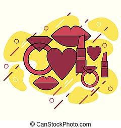 wektor, kobieta, ring, serce, ikony, symbol, usteczka, -, cztery, komplet, szminka
