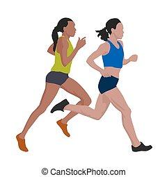 wektor, kobiety, ilustracja, wyścigi