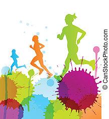 wektor, kolor, abstrakcyjny, bryzg, tło, biegacze