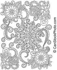 wektor, kolorowanie, mandala, adults, kwiat