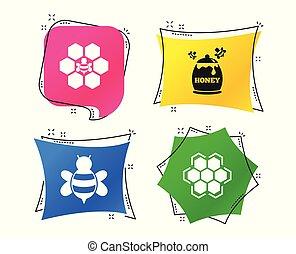 wektor, komórki, symbol., miód, pszczoły, icon., plaster miodu