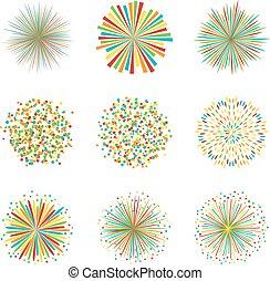 wektor, komplet, barwny, fajerwerki, ilustracja, tło, biały