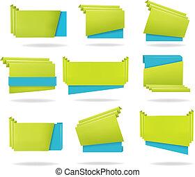 wektor, komplet, barwny, ilustracja, banners., papier, origami