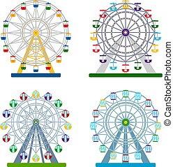 wektor, komplet, barwny, ilustracja, ferris, tło, koła, biały
