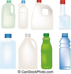 wektor, komplet, butelka, plastyk