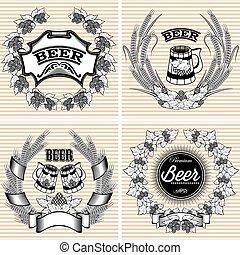 wektor, komplet, chmiel, żyto, piwo, wieńce