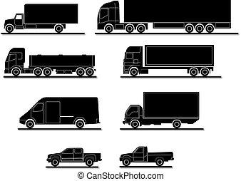 wektor, komplet, ciężarówki