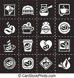 wektor, komplet, coffe, ikona