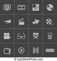 wektor, komplet, czarnoskóry, kino, ikona