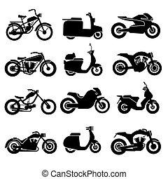wektor, komplet, czarnoskóry, motocykl, ikony